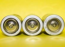 Vermogen van drie batterijen Stock Afbeelding