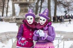 Vermomd Paar - Annecy Venetiaans Carnaval 2013 Royalty-vrije Stock Foto