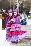 Vermomd Paar - Annecy Venetiaans Carnaval 2013 Royalty-vrije Stock Foto's