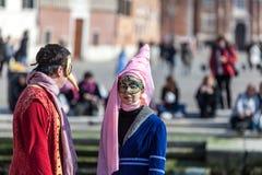 Vermomd Paar in Venetië Royalty-vrije Stock Afbeelding