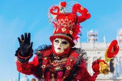Vermomde vrouw in Carnaval van Venetië Royalty-vrije Stock Foto
