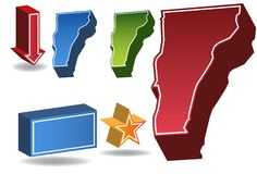 Vermont 3D. Set of 3D images of the State of Vermont with icons Royalty Free Stock Photography