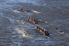 Vermont (bottom) WPI (middle) Geaorgie Tech (top) races in the Head of Charles Regatta Women's Stock Photography