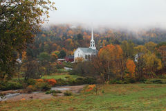 Vermont Church. New England Winter Scene In Vermont Royalty Free Stock Images