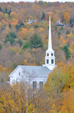 Vermont Church and Fall Foliage. Stowe Community Church and Fall Foliage in Town of Stowe, Vermont, USA Royalty Free Stock Photos
