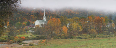 Vermont Church Panoramic. New England Winter Scene In Vermont Royalty Free Stock Images