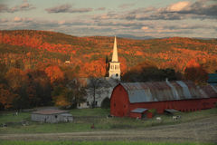 Vermont Church and Red Barn. New England  Scene In Vermont Stock Photo
