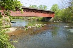 Vermont covered bridge. Covered bridge and river scene, Vermont Stock Photos