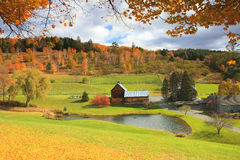 Vermont Farm In Autumn. New England  Scene In Vermont Stock Photos