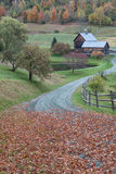 Vermont Farm in Autumn Stock Photo