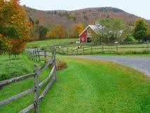 Vermont Farm in Fall. Green Mountain animal farm, with rail fence Stock Photo