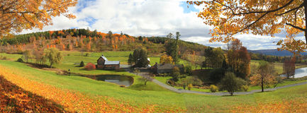 Vermont Farm Panoramic. New England Winter Scene In Vermont Stock Images