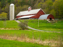 Vermont Farm Scene with red barn silo fields horse Royalty Free Stock Image