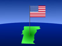 Vermont with Flag. Map of Vermont with American Flag on pole Royalty Free Stock Photos