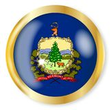 Vermont  Flag Button. Vermont state flag button with a gold metal circular border over a white background Royalty Free Stock Image