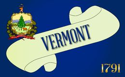 Vermont Flag Scroll. A scroll with the text Vermont with the flag of the state detail Royalty Free Stock Photo