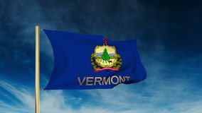 Vermont flag slider style with title. Waving in. Vermont flag slider style with title. Waving with cloud background animation stock video