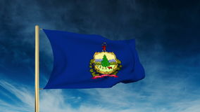Vermont flag slider style. Waving in the win with. Vermont flag slider style. Waving with cloud background animation stock video footage