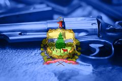 Vermont flag U.S. state Gun Control USA. United States Gun Law Royalty Free Stock Photo