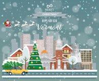 Vermont, glad jul och ett lyckligt nytt år! Royaltyfria Bilder