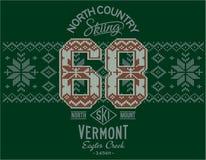 Vermont-Skifahren mit norwegischem strickendem Motiv lizenzfreie abbildung
