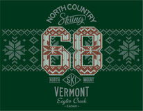Vermont skiing with Norwegian knitting motif. Print or embroidery artwork for sweatshirt or sweater royalty free illustration