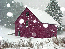 Vermont snowstorm. Purple barn in vermont snowstorm Royalty Free Stock Photos