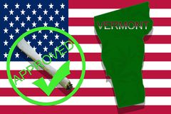 Vermont State on cannabis background. Drug policy. Legalization of marijuana on USA flag, Royalty Free Stock Image