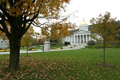 Vermont State Capitol. This is an exterior view of the capitol building in Montpelier, Vermont in Autumn Royalty Free Stock Image