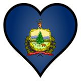 Love Vermont. Vermont state flag within a heart all over a white background Stock Photo