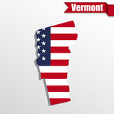 Vermont State map with US flag inside and ribbon Stock Photography