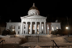 Vermont Statehouse at night in winter Royalty Free Stock Photo