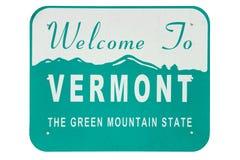 Vermont statligt välkommet tecken Arkivfoto