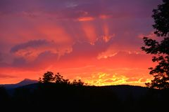 Vermont Sunset. Over Camel`s Hump Royalty Free Stock Images