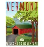 Vermont travel poster or sticker. Vector illustration of scenic covered bridge over stream vector illustration