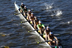 Vermont University races in the Head of Charles Regatta Men`s College Eights Stock Images