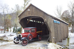 Vermont, USA. Covered wooden bridge with old car, Vermont, USA Royalty Free Stock Photography
