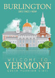 Vermont vector american poster. USA travel illustration. United States of America card. City Royalty Free Stock Photos