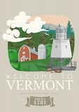 Vermont vector american poster. USA travel illustration. United States of America card. Vintage style. Vermont vector american poster. USA travel illustration Stock Photos