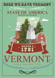 Vermont vector american poster. USA travel illustration. United States of America colorful greeting card. Retro style Stock Photo