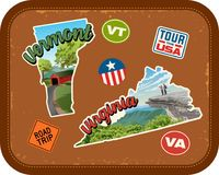 Vermont, Virginia travel stickers with scenic attractions. And retro text on vintage suitcase background Royalty Free Stock Photos