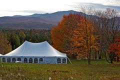 Vermont wedding tent in the mountains. Close up of a wedding tent in the mountains of Vermont Royalty Free Stock Photos