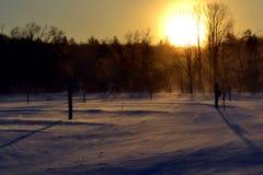Vermont-Winter Sonnenaufgang Stockbilder