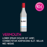 Vermouth card template with price and flat background. Stock Photography