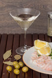 Vermouth drink and seafood dinner Stock Photos