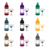 Vermouth icon in black style isolated on white background. Alcohol symbol stock vector illustration. Vermouth icon in black style isolated on white background Stock Photos