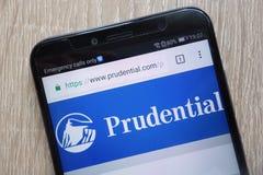 Vernünftige Website angezeigt auf einem modernen Smartphone stockbild