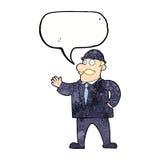 vernünftiger Geschäftsmann der Karikatur in der Melone mit Spracheblase Stockfotos
