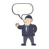 vernünftiger Geschäftsmann der Karikatur in der Melone mit Spracheblase Stockbild