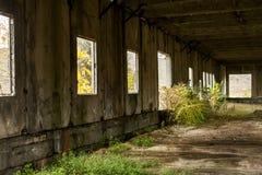 Vernachlässigtes Industriegebäude Stockfotos